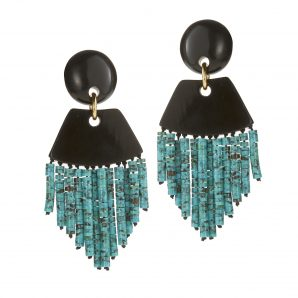 Nest Turquoise & Black Horn Statement Earrings XMggeKNZ4p